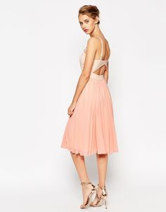 Image 2 of ASOS Sheer and Solid Pleated Midi Cami Dress
