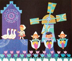 """Mary Blair illustration for Holland, from """"It's a Small World"""" 1968 Walt Disney Productions"""