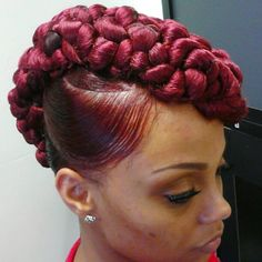 Braided updo on straigtened hair - beautiful color.
