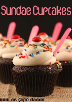 Sundae Inspired Cupcakes - On Sugar Mountain