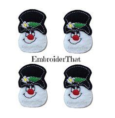 UNCUT Snowman Cool Face with hat felt applique by EmbroiderThat