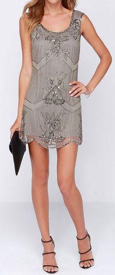 Grey Beaded Dress
