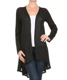 Look at this Black Hi-Low Open Cardigan on #zulily today!