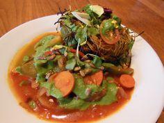 tomato vegetable cucumber salsa asian rice rice noodles cilantro tofu ...