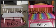 We took an old kitchen table bench and revamped it for my tween's bedroom!  http://www.MyCharmedStory.blogspot.com