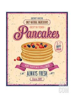Vintage Pancakes Poster Art Print by avean at Art.com