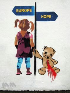 Europe vs Hope. European Programme for Migration part 2 #epim #europe #migration #refugees #girl #streetart #stencil