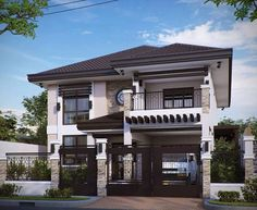 Two storey house plans with balcony for in ireland modern floor plan antique bungalow design philippines Two Story House Design, 2 Storey House Design, House Front Design, Modern House Design, Style At Home, Modern House Philippines, Filipino House, Two Storey House Plans, Bungalow Haus Design