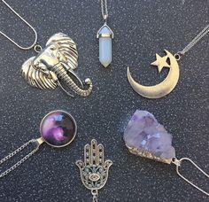 Crystals! Hamsa hand! Moon! Elephant Geisha! Uhhhhhhhhhhhhh. My life in necklaces! LOVE them all. I need these yesterday