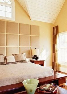 Upholstered squares for headboard. This would be so amazing with a bunch of photos!