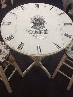 Vintage Inspired White Shabby Chic Distressed ALL Handpainted Cafe Bistro Parisian Table with Two Chairs. $400.00, via Etsy.