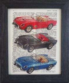 Ferrari print on an vintage french dictionary page by frenchprints, $8.95
