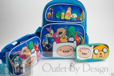 "Adventure Time 16""Large Backpack, Insulated LunchBag & Pencil Case Set -3DFinn #ADVENTURETIME"