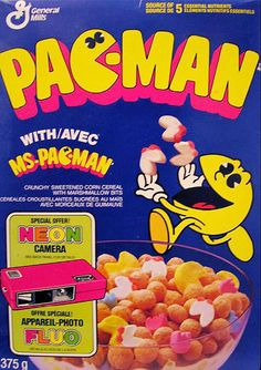 Canadian Pac-Man cereal (cereal puffs with pac-man marshmallow shapes) Bedroom Wall Collage, Photo Wall Collage, Picture Wall, Room Posters, Poster Wall, Poster Prints, Indie Room, Vintage Cartoon, Vintage Ads