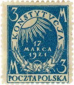 Viastampdesigns:    Poland postage stamp: Constitution  c. 1921  designed by E. Bartlomiejczyk and W. Huzarski