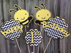 5 Piece   Yellow And Black BUMBLE BEE Table Decoration/Centerpiece   Baby  Shower Decorations/Birthday Party/Itu0027s A Girl/Itu0027s A Boy   Favors