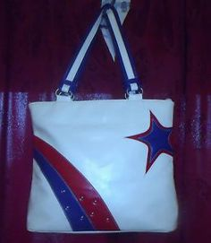 Vintage Red White Blue Leather Purse Matching Townflair Shoes