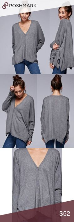 ✨NEW✨Long Sleeve Boxy Cardigan Boxy cardigan features a v-neckline with front button closure and side slits. Super soft and comfy.  55% Nylon, 30% Wool, 15% Angora.  Size-S/M, M/L.      Color-Heather Grey Classic Paper Doll Sweaters Cardigans