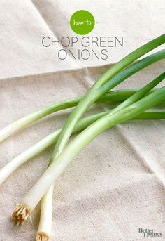 Green onions add color, crunch, and a mild onion flavor to an endless variety of dishes, including salsas, salads, and stir-fries. They also make a colorful garnish on anything from deviled eggs to stews to casseroles. Here's how to chop them.