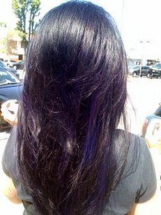 Dark purple streaks peek a boo google search hair pinterest purple peek a boo highlights pmusecretfo Image collections