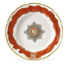 A RUSSIAN PORCELAINPLATE FROM THE SERVICE FOR THE IMPERIAL ORDER OF ST. ALEXANDER NEVSKY, GARDNER PORCELAIN MANUFACTORY, VERBILKI, 1778-1780