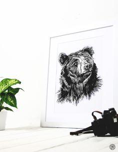 Scruffy Bear framed print - Original artwork by Luke Dixon. Bear Print, Limited Edition Prints, Wood Print, Original Artwork, Framed Prints, Portrait, Cards, Handmade, Hand Made