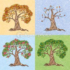 Čtyři roční období strom — Stocková ilustrace #44823829