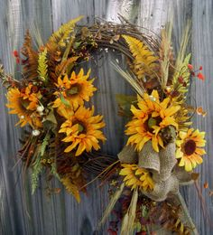 Lg Fall Wreath  Sunflower Wreath  Fall Wreath  by forevermore1, $89.00