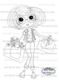 INSTANT DOWNLOAD Digital Digi Stamps Big Eye Big Head Dolls Digi IMG229  My Bestie B-Tween Besties By Sherri Baldy