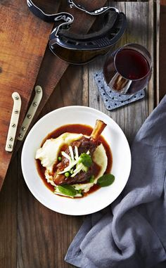 Hearty: Braised lamb shanks by Three Blue Ducks chef Mark La Brooy. Styling by Vicki Valsamis.