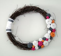 Burlap Rose, Grapevine Wreath with Pops of Color