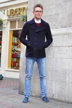 Smart cropped wool pea-coat with skinny jeans, Tom's shoes and neat collar and jumper combo.