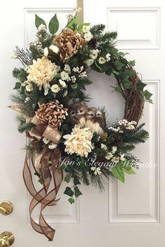 30 Rustic Christmas Wreath Ideas On A Budget; 30 Rustic Christmas Wreath Ideas On A Budget; Noel Christmas, Rustic Christmas, Christmas Crafts, Christmas Decorations, Christmas Swags, Primitive Christmas, Holiday Decorating, Simple Christmas, Diy Fall Wreath