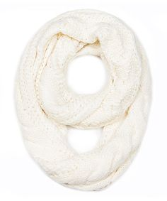 White Cable-Knit Infinity Scarf