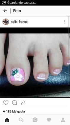 Uñas Cute Pedicure Designs, Toe Nail Designs, Cute Pedicures, Manicure And Pedicure, Toe Nail Art, Toe Nails, New Nail Art Design, Sully, Pretty Nails