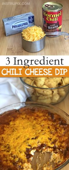Easy 3 Ingredient Chili Cheese Dip - - This quick and easy appetizer dip is a real crowd pleaser! Serve it up with Fritos Scoops for the ultimate finger food. You can make it ahead and simply throw it in the oven just before serving. Best Party Appetizers, Fingerfood Party, Appetizers For A Crowd, Quick And Easy Appetizers, Easy Party Food, Snacks Für Party, Finger Food Appetizers, Appetizer Dips, Easy Snacks