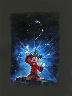 Fantasia - Mickey's Magical Spell - Original by Rodel Gonzalez presented by World Wide Art Disney Kunst, Arte Disney, Disney Pixar, Mickey Mouse And Friends, Mickey Minnie Mouse, Disney Micky Maus, Disney Fine Art, Disney Paintings, Disney Background