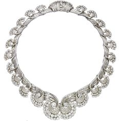 AN ART DECO DIAMOND NECKLACE, BY RENÉ BOIVIN. Designed as a series of graduated baguette and brilliant-cut diamond scrolls, each element detachable to form a tiara, a pair of ear clips, a bracelet or a pair of brooches (fittings missing), mounted in platinum, 1935, 40.0 cm. Empress NAM PH'U'ONG OF VIETNAM sure had some great taste. (formerly her property) via christies