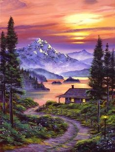 David Lloyd Glover Cabin On The Lake art painting for sale; Shop your favorite David Lloyd Glover Cabin On The Lake painting on canvas or frame at discount price. Fantasy Landscape, Landscape Art, Fantasy Krajina, Landscape Design, Garden Design, Landscape Rocks, Landscape Steps, Landscape Materials, Landscape Fabric