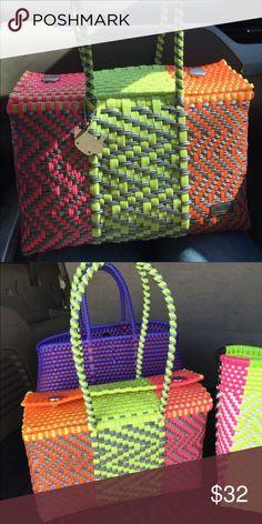 Artisian Mexican Handbag Handwoven plastic bag /handmade/Mexican tote/made in Mexico Bags Totes