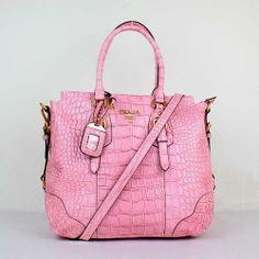 9f2303ba19d3 Prada Crocodile-Embossed Leather Bags In Pink 03