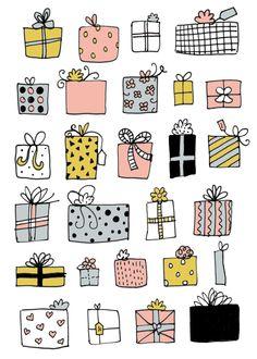 Presents in Basket Illustration line drawing Doodle Drawings, Cartoon Drawings, Easy Drawings, Doodle Art, Christmas Present Drawing, Christmas Drawing, Basket Drawing, Drawing Bag, Christmas Doodles