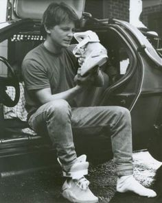 Michael J Fox on the set of Back to the Future Part 2