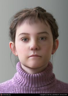 Title: Young girl  Name: Viki Yeo  Country: Korea (South)  Software: 3ds max, mental ray, Photoshop, ZBrush    Hi, Here is my latest work. This model is a girl who is 3d.sk's Petra. The base mesh was sculpted Zbrush. The final mesh modeled 3dsMax,textured with Photoshop,Rendered on Mentalray,and Hair for the hair.  I hope you like it.