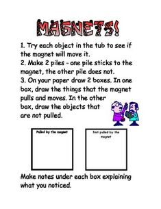*FREE- Kids love magnets! This is a quick and easy science center activity. My class really enjoyed it!