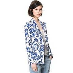 Women's Turn-down Collar Blue and White Porcelain Print  Blazer – USD $ 23.99
