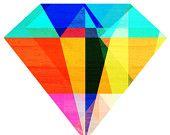Jewel Tone I, (Geometric Diamond Shaped Stone) 8X10 Art Print by thepairabirds on etsy