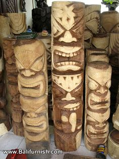 Carved Wood Tiki Carvings Bali