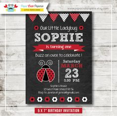 Lady Bug Chalkboard Birthday Party Invitation / DIY Party Printables / First Brithday / Free Thank You Card (CBI21)