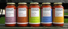 Packaging for Canadian TV Chef Christine Cushing's gourmet tomato sauces by Trish Papadakos in conjunction with The Movement. Stuffed Hot Peppers, Stuffed Mushrooms, Christine Cushing, Jam Packaging, Packaging Design, Mole Sauce, Salsa Picante, Tv Chefs, Food Branding